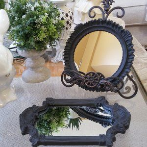 SHABBY Farmhouse BLACK Ornate FRAMED MIRRORS